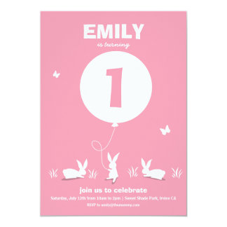 From Lucy: BUNNY BALLOON | Pink Kids Birthday 13 Cm X 18 Cm Invitation Card