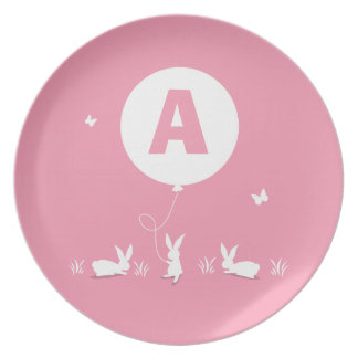 From Lucy: BUNNY BALLOON PINK | personalised kids Plate