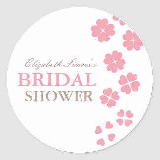 From Lucy: HEARTS & FLOWERS   bridal shower Round Sticker
