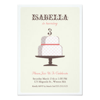 "From Lucy: LITTLE LADY CAKE | birthday invite 5"" X 7"" Invitation Card"