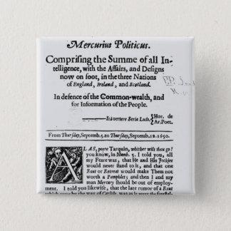 from 'Mercurius Politicus' 15 Cm Square Badge