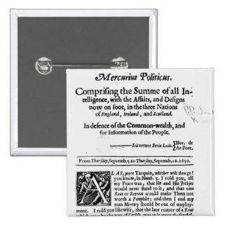 from 'Mercurius Politicus' Pinback Button