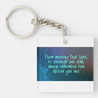 From morning first light, inspirational quote key ring