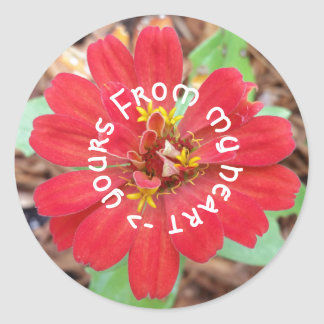 From My Heart to Yours red flower sticker