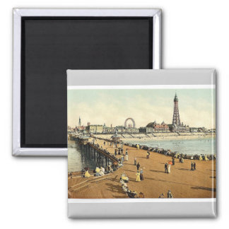 From North Pier, Blackpool, England vintage Photoc Magnet