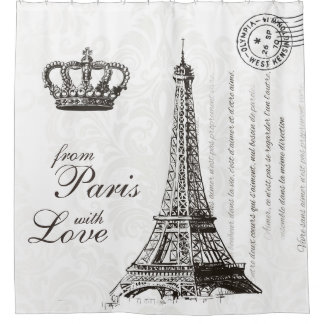 From Paris with Love Black and White Travel Decor Shower Curtain