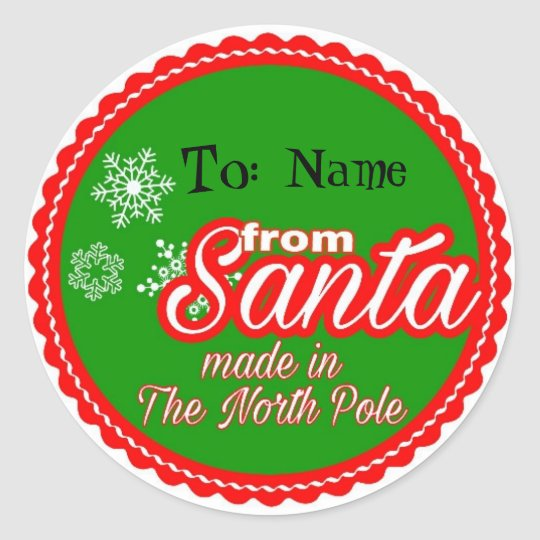 From Santa Personalised Classic Round Sticker