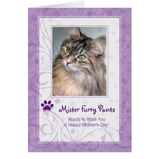 From the Cat Mother's Day Photo in Purple Greeting Card