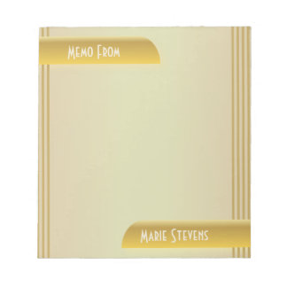From The Desk Modern Art Deco Gold Colors Notepad
