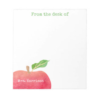 From The Desk of Teacher Red Apple Personalized Notepad