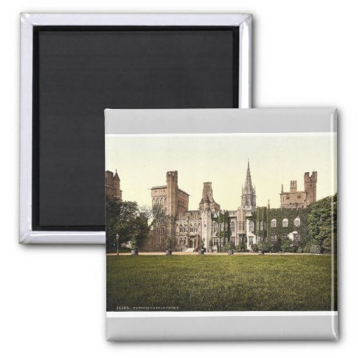 From the east, Cardiff Castle, Wales rare Photochr Refrigerator Magnet