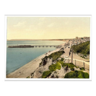 From the East Cliff, Bournemouth, England vintage Postcard