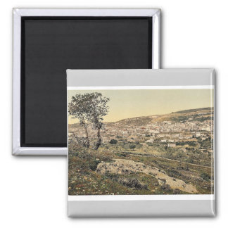 From the east, Nazareth, Holy Land, (i.e., Israel) Square Magnet
