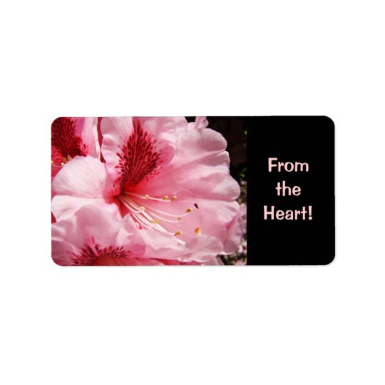 From the Heart! label stickers Pink Rhodies Flower Address Label