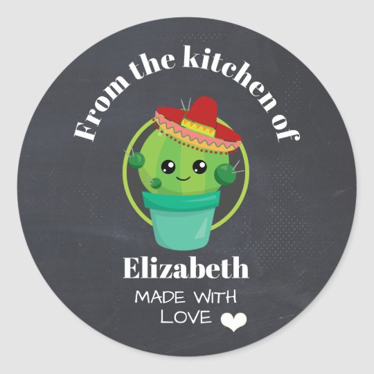 From the Kitchen Cute Cactus in a Sombrero Classic Round Sticker ... 9ec34bd839c