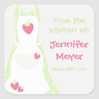 From The Kitchen Of Apron Labels Square Sticker