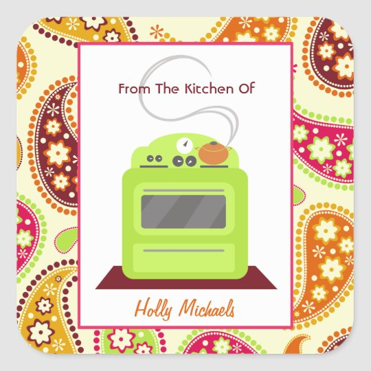 From The Kitchen Of...Bright Green Stove & Paisley Square Sticker