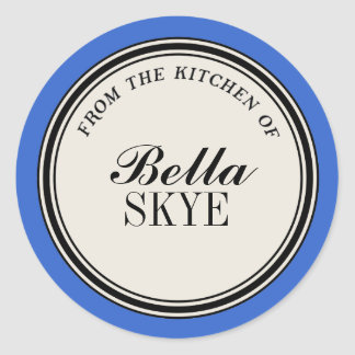 """From the Kitchen of"" Circle Label Template, Blue Classic Round Sticker"