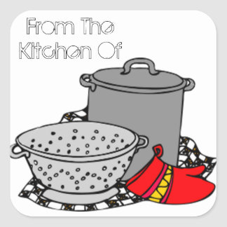 From the Kitchen Of Cooking Pot & Strainer Square Sticker