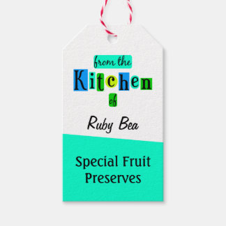 From the Kitchen of Custom Retro Blues Baking Tag