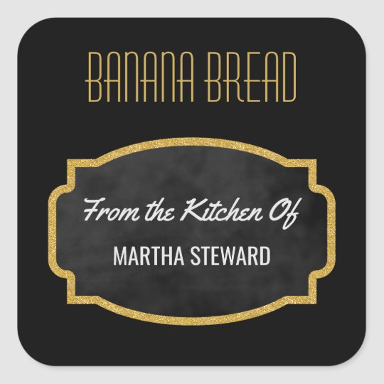 From the Kitchen Of Gold Black Vintage Chalkboard Square Sticker