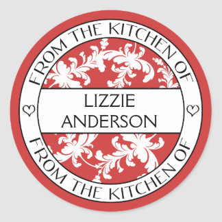 From the Kitchen of Label | Red White Damask Round Sticker