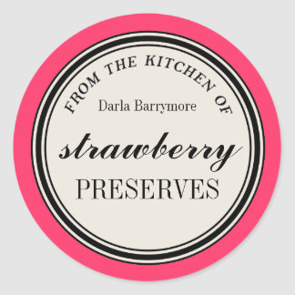 """From the Kitchen of"" Label, Strawberry Preserves Round Sticker"
