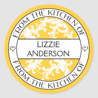 From the Kitchen of Label   Yellow White Damask