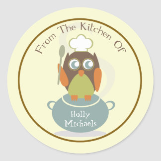 From The Kitchen Of...Owl With Chef's Hat & Spoon Round Sticker