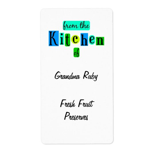 From the Kitchen of Retro Blue Green Recipe Label