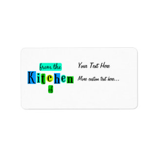 From the Kitchen of Retro Blue Green Recipe Tag Address Label