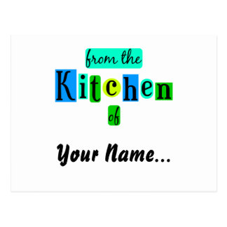 From the Kitchen of Retro Blues Recipe Card Postcard