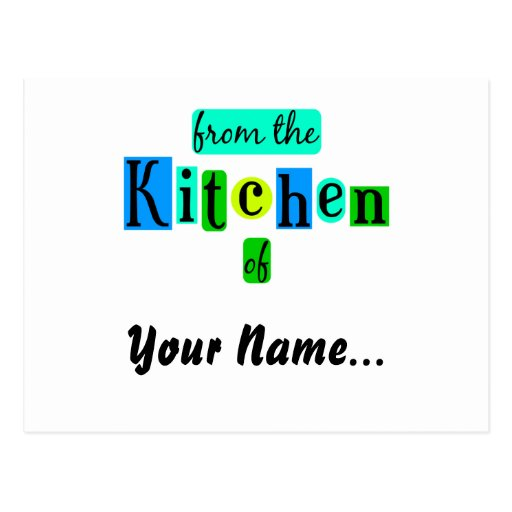 From the Kitchen of Retro Blues Recipe Card Postcards
