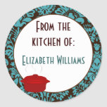 From The Kitchen of Teal Brown Damask Round Sticker