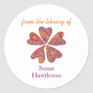 """""""From the library of"""" blooming heart bookplate Classic Round Sticker"""