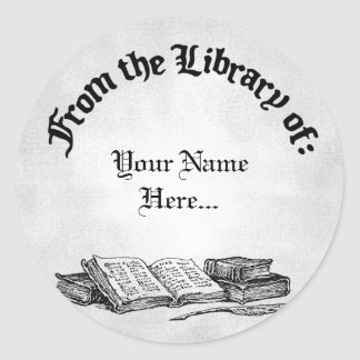 From the Library of Books Quill Custom Bookplate Round Sticker