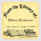 From the Library of Books Quill Custom Bookplate Square Sticker