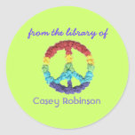 """From the library of"" peace sign bookplate Round Stickers"