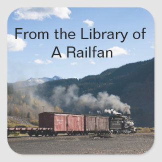 "From the library of ""this railfan"" (template) square sticker"