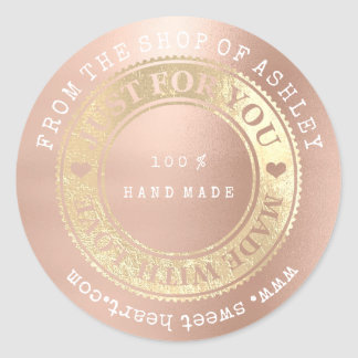 From The Shop 100% Hand Made Web Name Rose Gold Classic Round Sticker