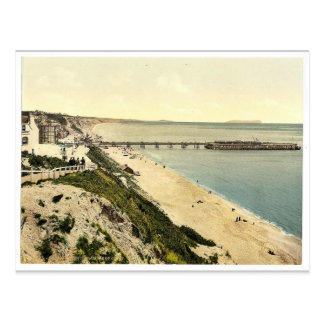 From the West Cliff, Bournemouth, England vintage Postcard