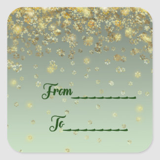 """From, To"" Christmas gift sticker faux gold snow"