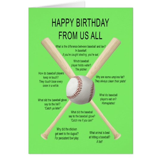 From us all, birthday baseball jokes card