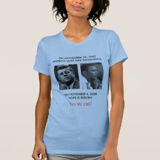 "FRONT/BACK JFK to OBAMA/ part JFK ""Ask not"" speech T-Shirt"