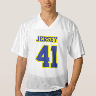 Front BLUE YELLOW WHITE Mens Football Jersey