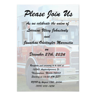 Front corner of county fire truck fireman design card
