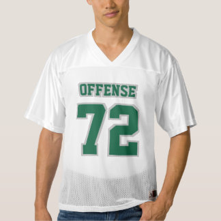 Front DARK GREEN SILVER WHITE Mens Football Jersey