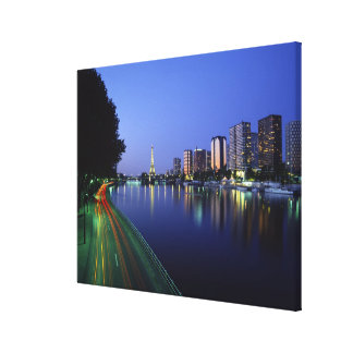 Front du Seine and Eiffel Tower, Paris, France 2 Canvas Print