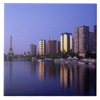 Front du Seine and Eiffel Tower, Paris, France Tile