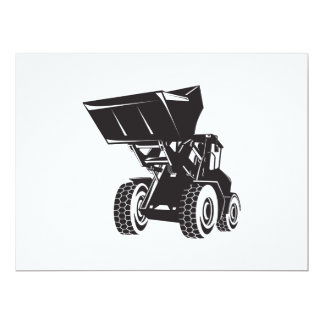 Front End Loader Digger Excavator Retro Personalized Invitations